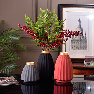 Simple and modern matt gray black red frosted ceramic vase