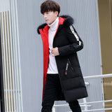 Foreign trade men's long-sleeved hooded long-sleeved fur collar