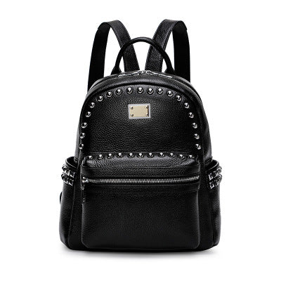 Leather Shoulder Bag Female 2019 New Fashion Wild First Layer Leather Dual-use Large Capacity Soft Leather Travel Small Backpack