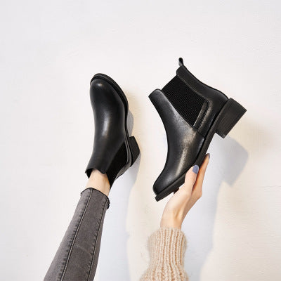 Fashion Korean Version Round Head One Foot Squat British Style Chelsea Boots Short Tube Women's Boots