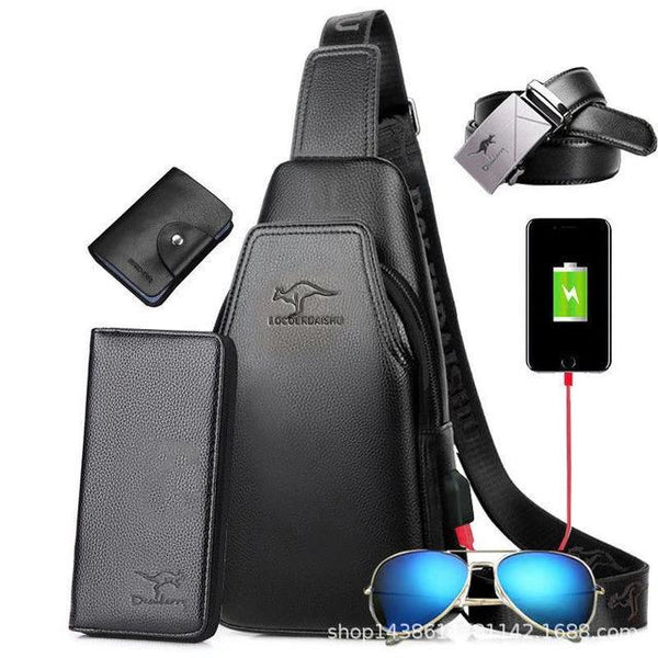[5pcs set hot sale] Men's Chest Bag Shoulder leather Bag Casual Retro USB Bag Sports Backpack