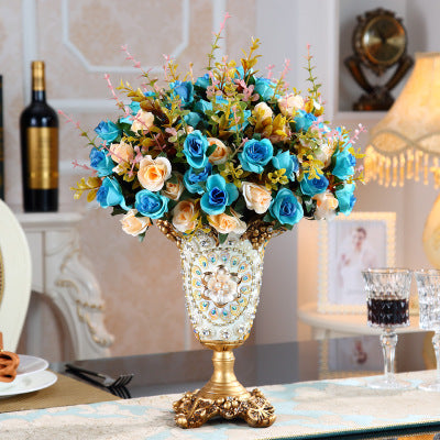 European Palace Luxury Diamond Large Resin Vase Figurines Home Decoration Crafts