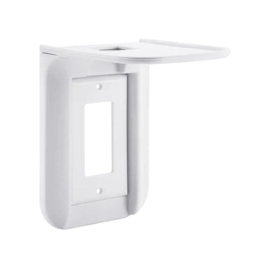 Wall Outlet Shelf Standard Vertical Duplex Outlet with Cable Channel - White