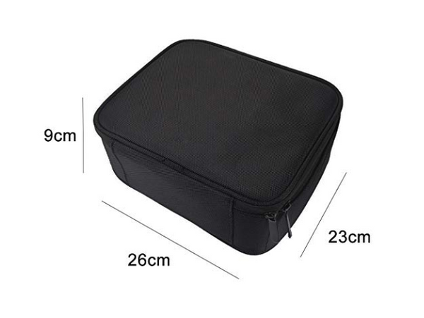 Travel Makeup Train Case Makeup Cosmetic Case Organizer Portable Artist Storage Bag 10.3'' with Adjustable Dividers for Cosmetics Makeup Brushes Toiletry Jewelry Digital accessories Black