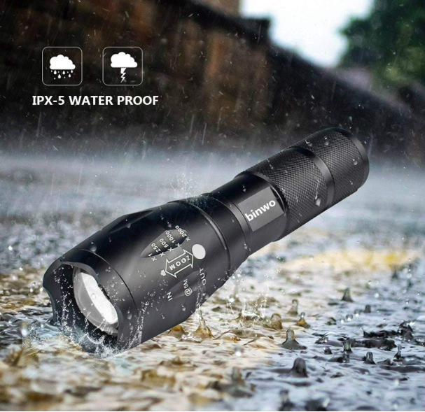 US LED Tactical Flashlight, Binwo 2000 Lumen XML LED Flashlights Portable Outdoor Water Resistant Zoomable Flashlight with 5 Light Modes