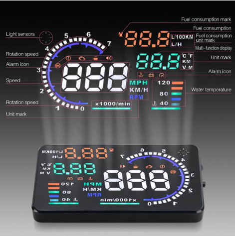 HUD head-up display OBD car accessories car display projector speed i9 outdoor new projector