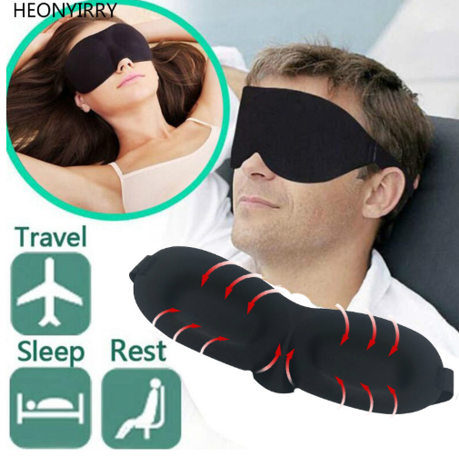 3D Rest Eye Mask Memory Foam Padded Shade Cover Blindfold Sponge Eyeshade