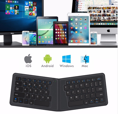 Portable Leather Folding Mini Keyboard Bluetooth  Keypad for iphone,android phone,Tablet,ipad,PC
