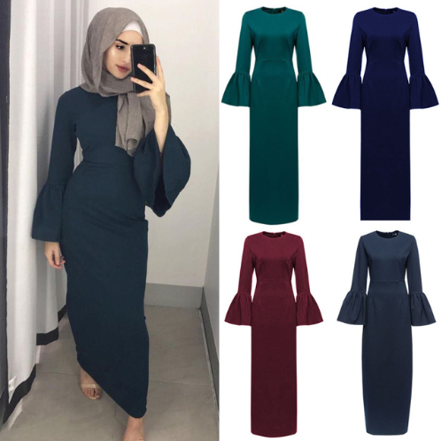Fashion Muslim Abaya Maxi Dress Flare Sleeve Long Robe Gowns