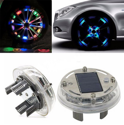 Hot 1PCS Colorful RGB Waterproof Flash Tire Decorative Car Hub Neon Light Car Solar Wheel Lights