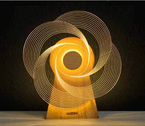 LED and Music Windmill Lamp Creative Wooden 3D Spinning Windmill Night Light