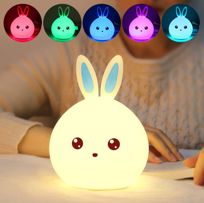 Pat to Change Color Cute Cat LED Rechargeable USB Lamp Silicone Soft Nightlight
