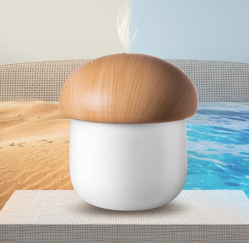Wooden Mushroom USB Mini Humidifier Soft LED Night Light Aroma Diffuser 250ml