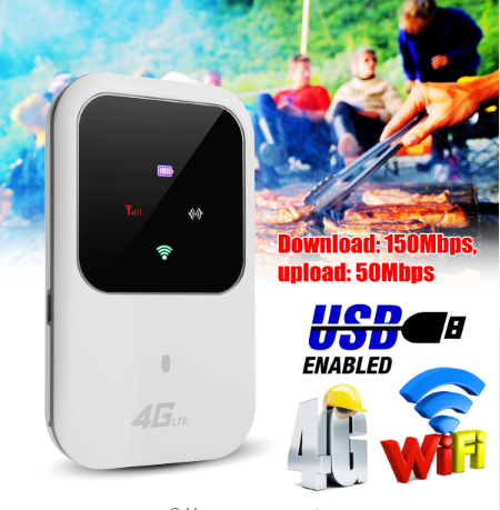4G LTE Mobile WiFi Wireless Router Hotspot LED Lights Supports 10 Users Portable Router Modem for Car Home Mobile Travel Camping