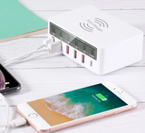 5-Port Wireless Charging Smart Plug With LCD Display 40W Output