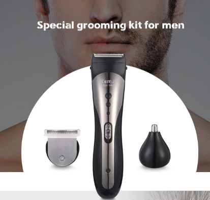 Waterproof Wireless Beard Nose Ear Shaver Hair Clipper 3 in 1 Electric Trimmer with 4 Guide Combs