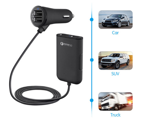 Quick car charger QC 3.0 Multi 4 port fast Car Charger For iPhone Samsung tablet new portable rear back seat usb charger adapter