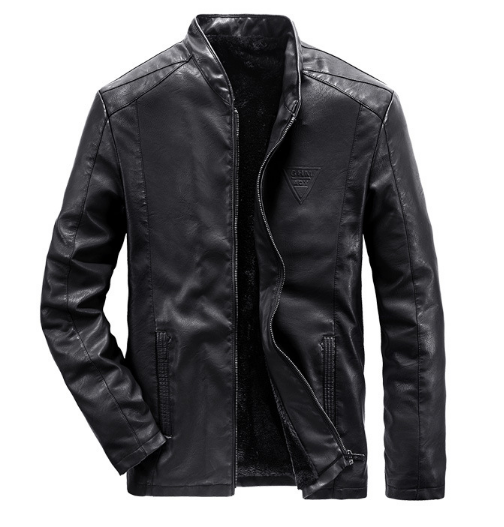 plus size M~5XL,6XL New Leather Jacket Men's Solid Color Stand Collar Slim Casual Jacket Men's PU Leather Jacket