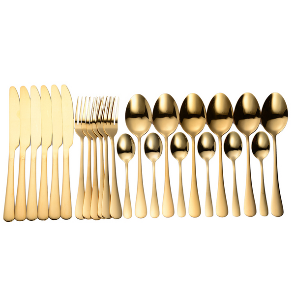 Cutlery Set 24pcs Gold Dinnerware Set Stainless Steel Tableware Knife Fork Spoon Flatware Dishwasher Safe Dinner Set Gift Box