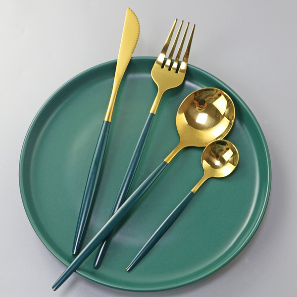 4pcs Green Gold Dinnerware Cutlety Set 304 Stainless Steel Tableware Set Knife Fork Spoon Kitchen Flatware Dinner Silverware Set