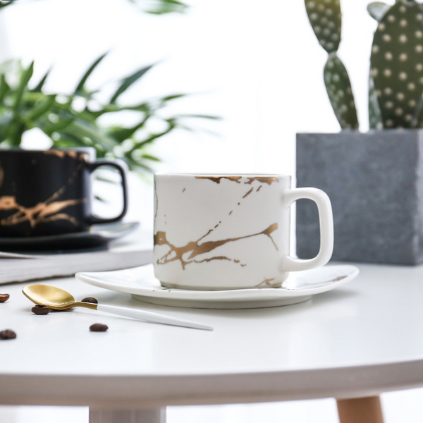 Marble coffee cup, black and white cup and saucer cup. High quality coffee cup