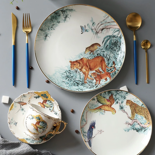 White Porcelain Service Plate Forest Plate Animal Tray Western Foodware Set Dessert Cake Plate Fruit Steak Suit Dinnerware