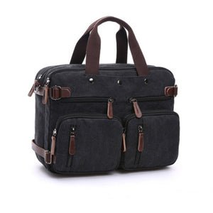 Ekphero® Men 3-convertible Handbag Vintage Crossbody Shoulder Bag Travel Backpack - Black