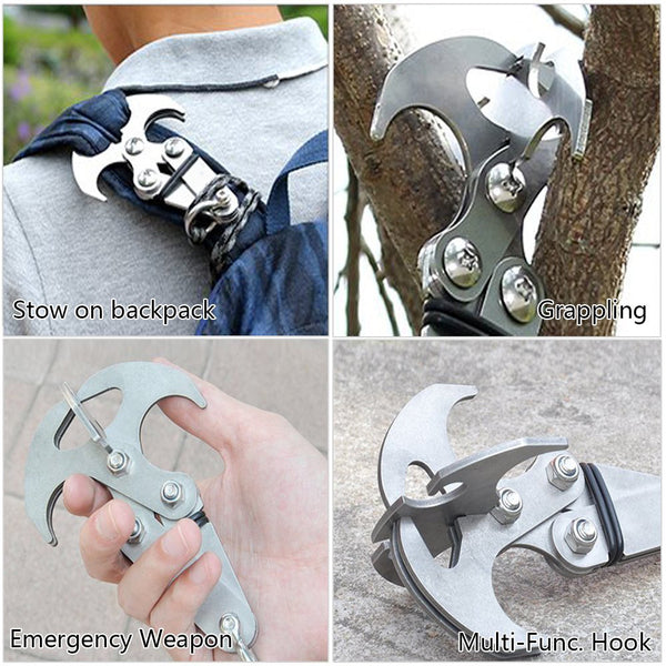 Survival Grizzly Hook Grappling Folding Climbing Fishing Tail