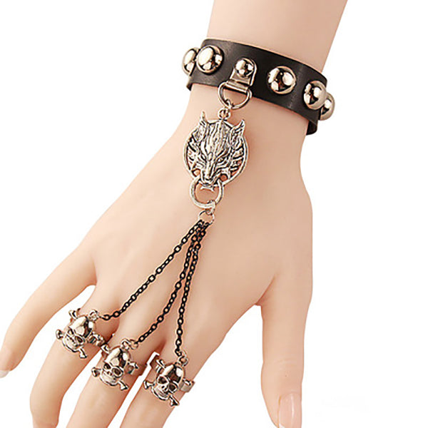 Europe and the United States Retro Gothic Punk Wind Bracelet Wolf Head Skull Jewelry Leather with a Ring