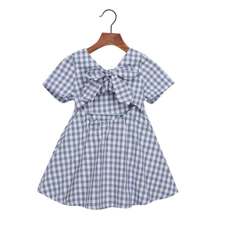 Bear Leader Girls Dresses Sweet Bow Plaid High Waist Dress Girl Backless kids dresses for girl Princess Dress clothes