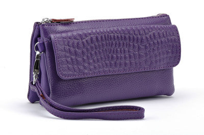 2019 spring and summer new crocodile leather diagonal mini bag - purple