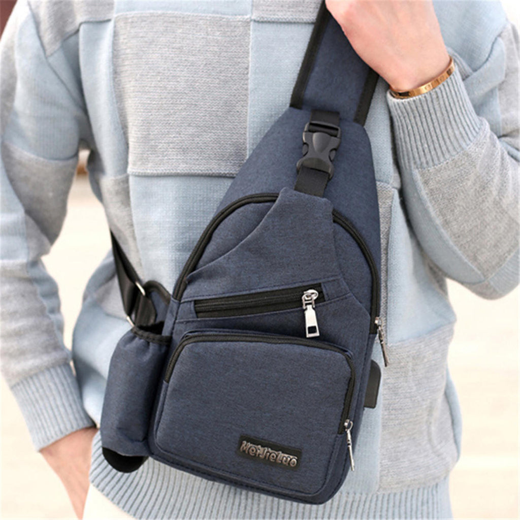 16a44a9509 Men Oxford Large Capacity Casual Outdoor Travel USB Charging Port Sling Bag  Chest Bag Crossbody Bag ...