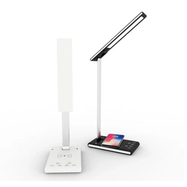 Multifunction Dimmable LED Lamp Table Desk Phone Wireless Charging Pad Cell Phone Charger Holder Stand Foldable Desktop Light