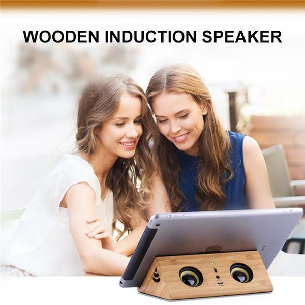 Wooden Induction Speaker Mini Universal Magic Subwoofer Dual Stereo Super Bass Loudspeaker Stand For Phone Tablet (Influencer Recommend)