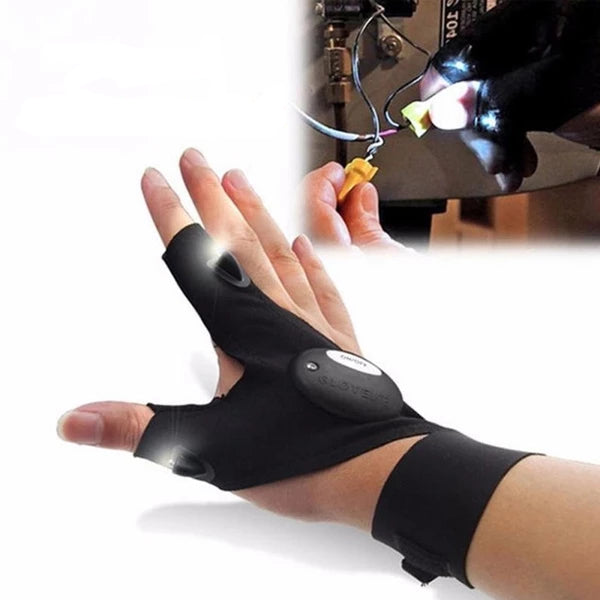 Night Fishing Glove with LED Light Rescue Tools Gear Fingerless Home Repair Gloves men half finger Flashlights Accessories