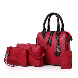 4 PCS Women Faux Leather Handbag Vintage Multi-function Crossbody Bag