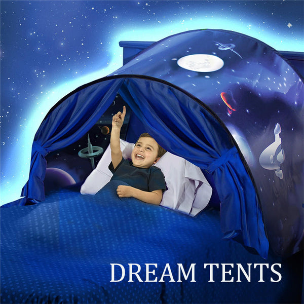 Kids Dream Bed Tents with Light Storage Pocket Children Boy Girls Night Sleeping Foldable Pop Up Mattress Tent