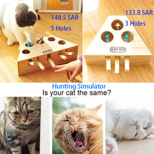 Hunting Simulator - Interactive Cat Toys - Solid Wood - Indoor Cats Whack a Mole - Puzzle Box 3 Holes/5 Holes