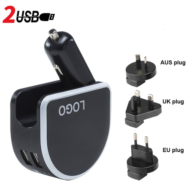 3-in-1 Dual USB Car & Wall Charger with LED Light - The Only Charger You Need for All Situations
