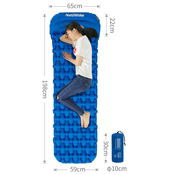 Naturehike Sleeping Pad With Pillow Air Bag New Hand Press Inflating Camping Mattress Ultralight Outdoor Hiking Tent Mats