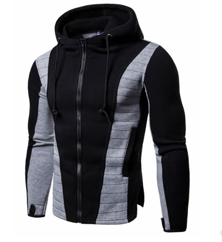 Men's Hoodie Slim Patchwork Long Sleeve Color Block Zipper Hoodie