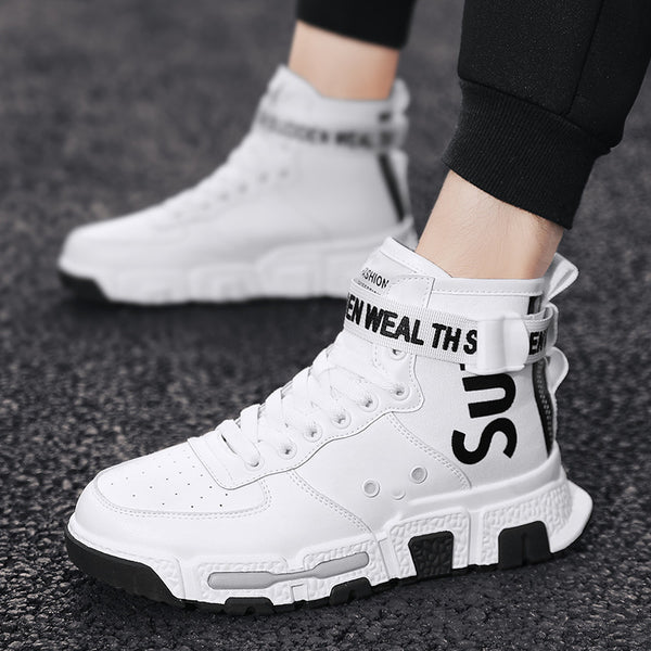 Men Vulcanized Shoes Sneakers for Men Lace Up Zipper High Top Autumn Flat Outdoor Comfortable Non-slip Breathable Men Shoes