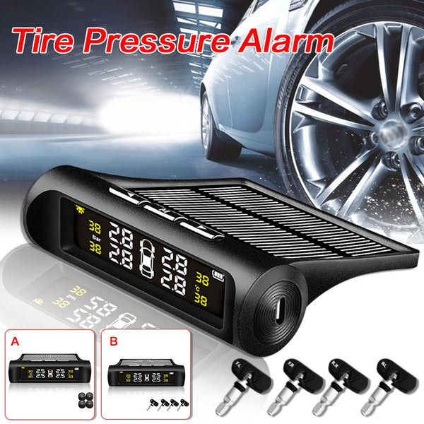 [اكسسوارات السيارات الأكثر شعبية]Wireless Solar Energy Tire Pressure Monitor Automotive Universal tpms Tire Pressure Detector Alarm