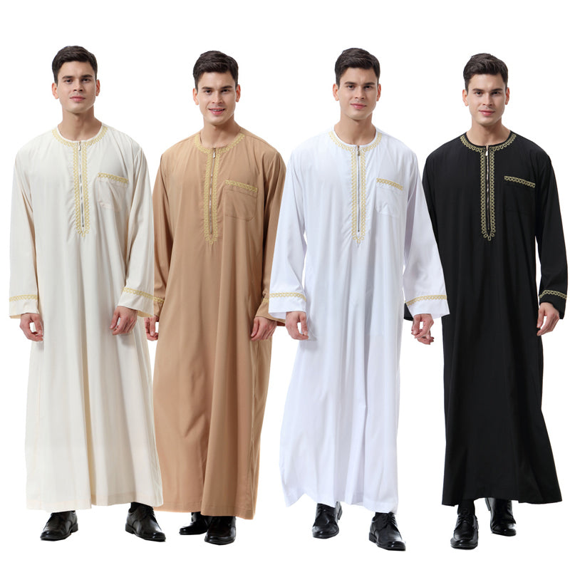 【رداء الرجال المسلمين】Muslim Arab Middle Eastern Men's Print Zipper Round Collar Robe