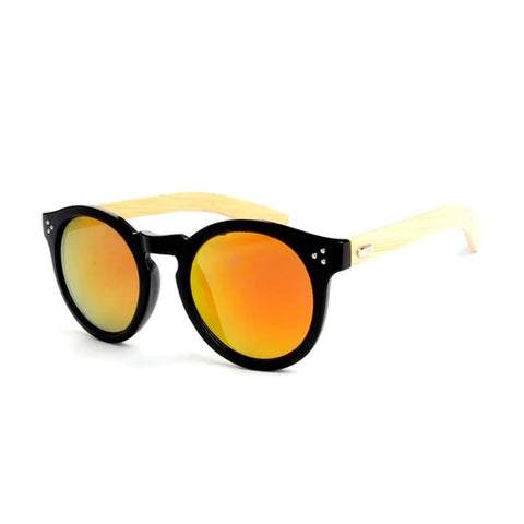bamboo sunglasses 2019 retro men's sunglasses round shades for women leopard frame 3204