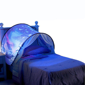 [المفضلة للأطفال] Kids Dream Bed Tents with Light Storage Pocket Children Boy Girls Night Sleeping Foldable Pop Up Mattress Tent