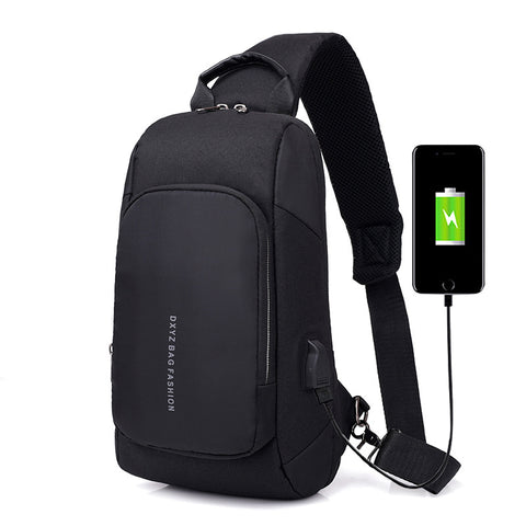 【Free Shipping+Free Gifts】Fashion men's chest multi-function Messenger bag USB charging anti-theft canvas travel shoulder bag password lock shoulder bag