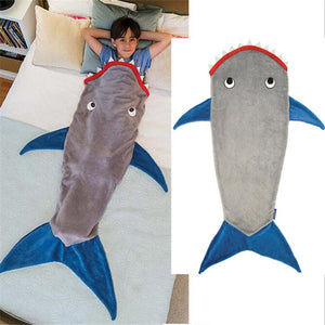 Shark Mermaid Sleeping Blanket Sleeping swaddle Soft Wool Children Sleeping Bag