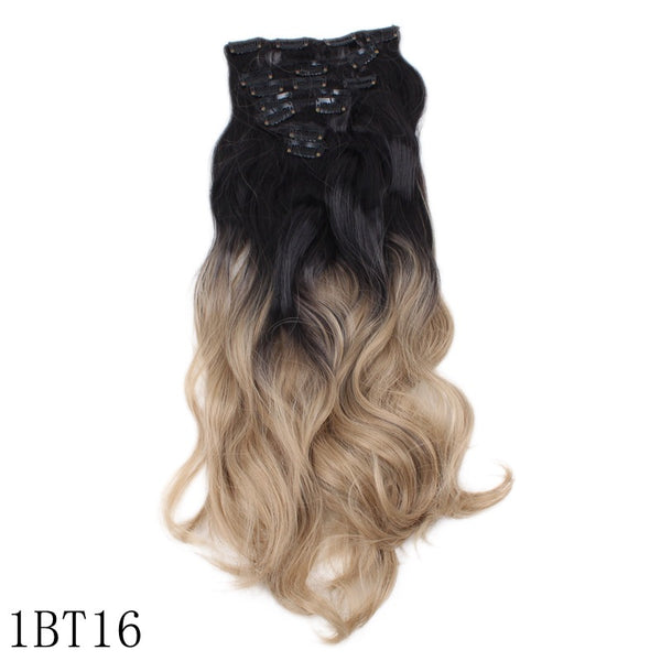 Chemical fiber hairpin hair extension piece gradient color seven-piece set of curly hair
