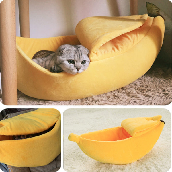 Banana Shape Cat Litter Pet New Design Banana Shape Nest For Dogs Creative Kennel Winter Warm Pet Nest Breathable Yellow Green